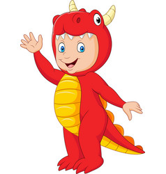 cartoon kid with halloween dragon costume vector image