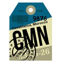Casablanca airport luggage tag vector