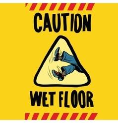 Caution wet floor feet men vector