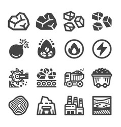 coal icon set vector image