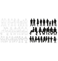 collection silhouettes people men and women vector image