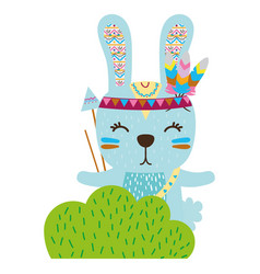 Colorful ethnic rabbit animal in back of bushes vector