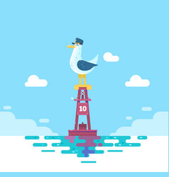 Colorful seagull bird on blue calm sea coast vector