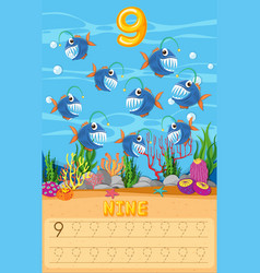 Counting fish math worksheet vector