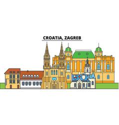 Croatia zagreb city skyline architecture vector