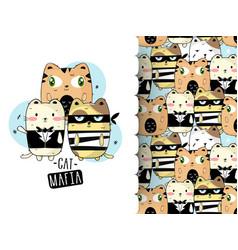 Cute cat gang with hand drawn cartoon vector