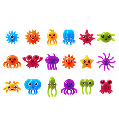 cute cute seta creatures sett with different vector image