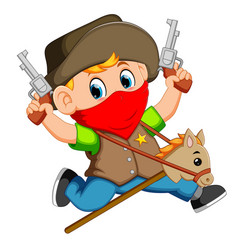 cute little boy running with a horse on a stick vector image