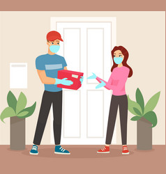 Delivery man in mask and vector