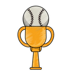 drawing baseball winner cup prize vector image