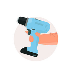 drill in hand cartoon style vector image