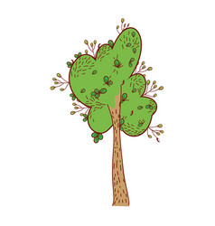 Ecology tree with nature leaves and stalk vector
