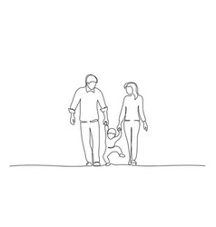family holding hand with small child design vector image