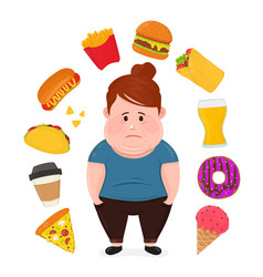 Fat sad young woman surrounded vector