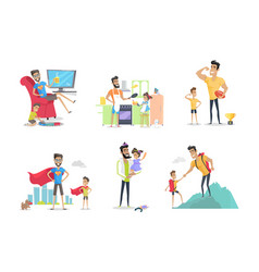 Father and child posters set having fun together vector