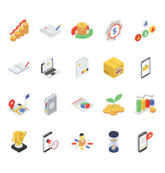 Finance icons in modern isometric style vector