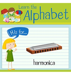Flashcard alphabet H is for harmonica vector