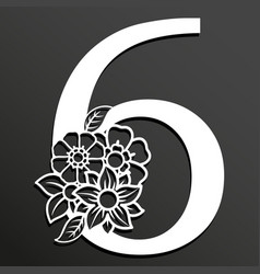 Floral number 6 vector