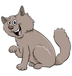 Fluffy cat cartoon animal character vector