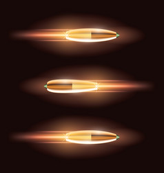 Flying bullet set with a fiery trace vector