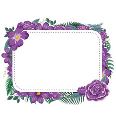 frame design with purple flowers vector image