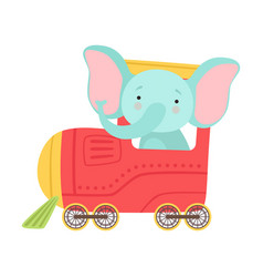 Funny elephant with long trunk riding on train vector