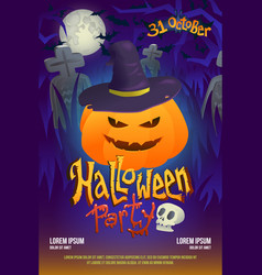 Halloween party flyer with pumpkin on dark vector