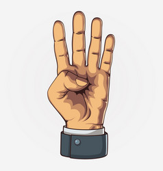 Hand showing four count retro style vector