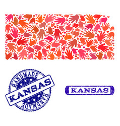 Handmade composition of map of kansas state and vector