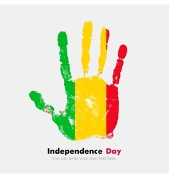 Handprint with the Flag of Mali in grunge style vector image