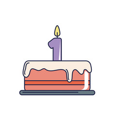 happy birthday tasty cake with candle number one vector image