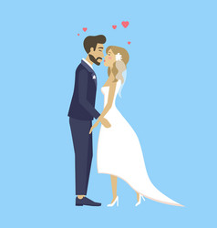 Happy bride and groom just married couple wedding vector