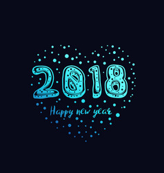 happy new year 2018 card design vector image