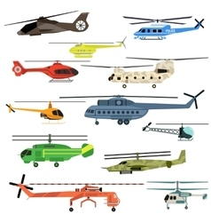 Helicopters set vector
