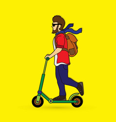 Hipster man riding kick scooter vector