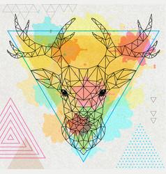 hipster polygonal animal deer vector image