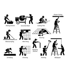 home improvement and house renovation icons vector image