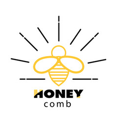 honeycomb bee icon white background image vector image