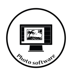 Icon of photo editor on monitor screen vector