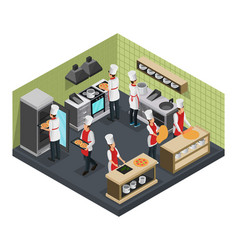 Isometric italian restaurant cooking room template vector