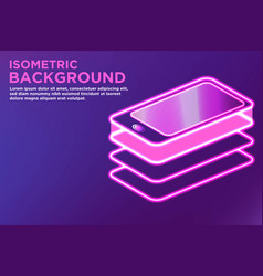 isometric smart phone background vector image