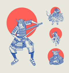 japanese samurai and red sun warriors with vector image