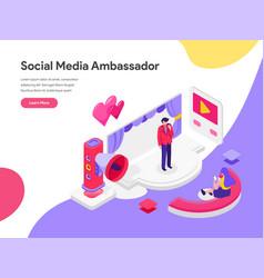Landing page template social media ambassador vector