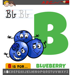 Letter b from alphabet with cartoon blueberry vector