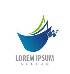 Logo concept design digital paper sheet symbol vector