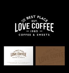 love coffee logo cafe emblem letters vintage vector image