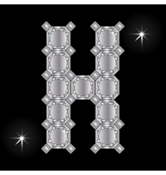 Metal letter H Gemstone Geometric shapes vector image