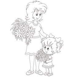 Mom and her daughter with flowers vector