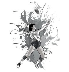 Monochromatic volleyball sport girl and ball vector