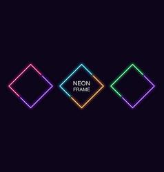 Neon rhomb frame set rhombus neon border in 2 vector